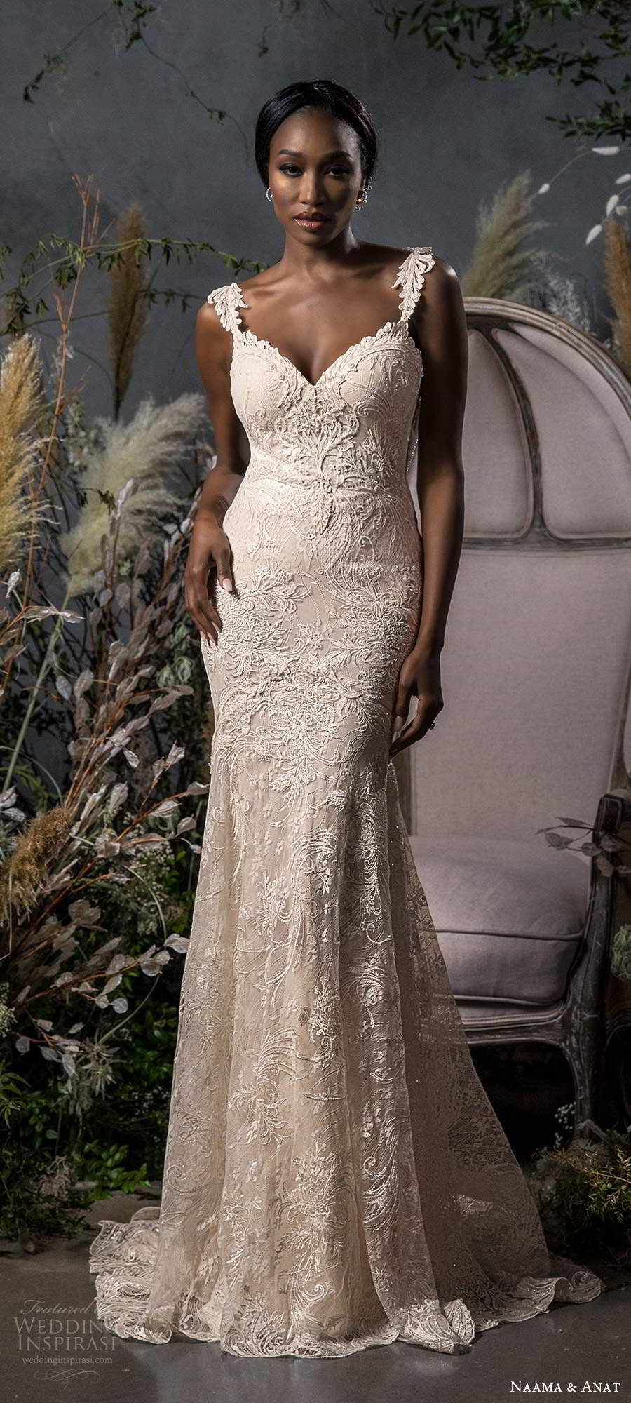 naama anat fall 2020 bridal sleeveless straps sweetheart neckline fully embellished fit flare a line wedding dress sweep train (8) lv
