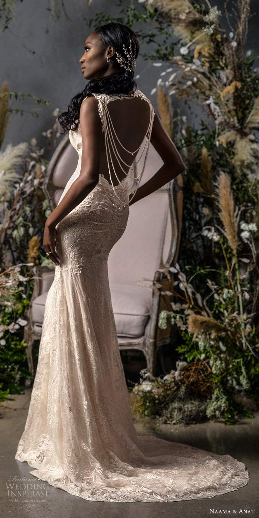 naama anat fall 2020 bridal sleeveless straps sweetheart neckline fully embellished fit flare a line wedding dress sweep train keyhole back (8) bv