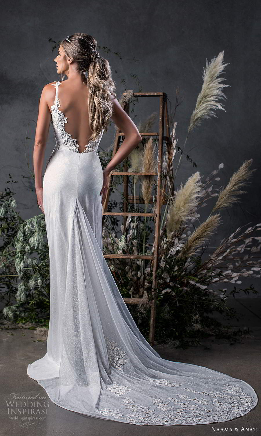 naama anat fall 2020 bridal sleeveless straps sweetheart neckline ruched bodice a line wedding dress chapel train v back (9) bv