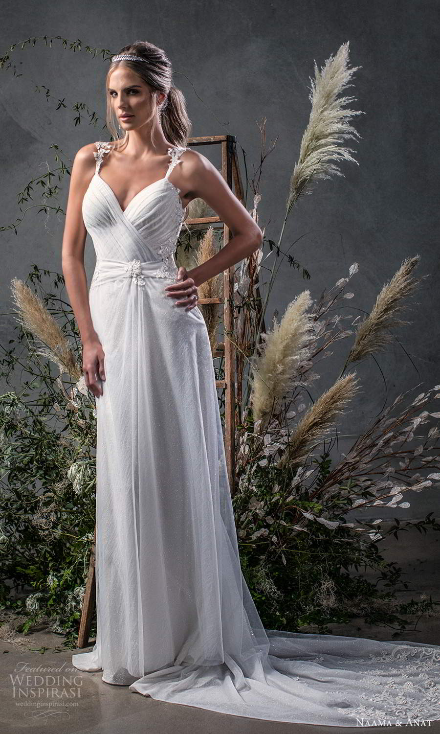 naama anat fall 2020 bridal sleeveless straps sweetheart neckline ruched bodice a line wedding dress chapel train v back (9) mv