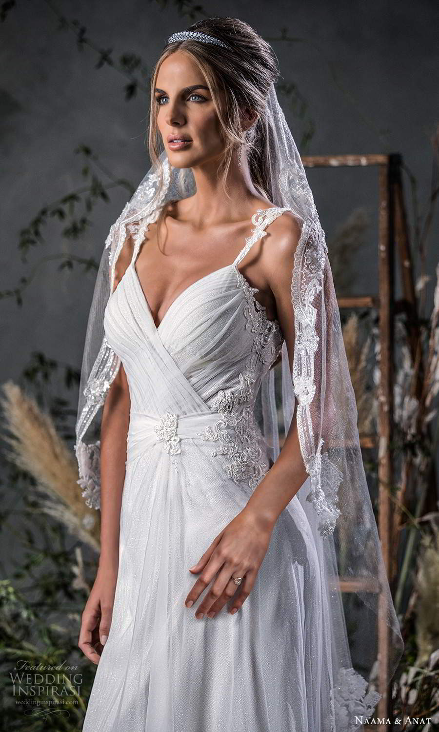 naama anat fall 2020 bridal sleeveless straps sweetheart neckline ruched bodice a line wedding dress chapel train v back (9) zbv