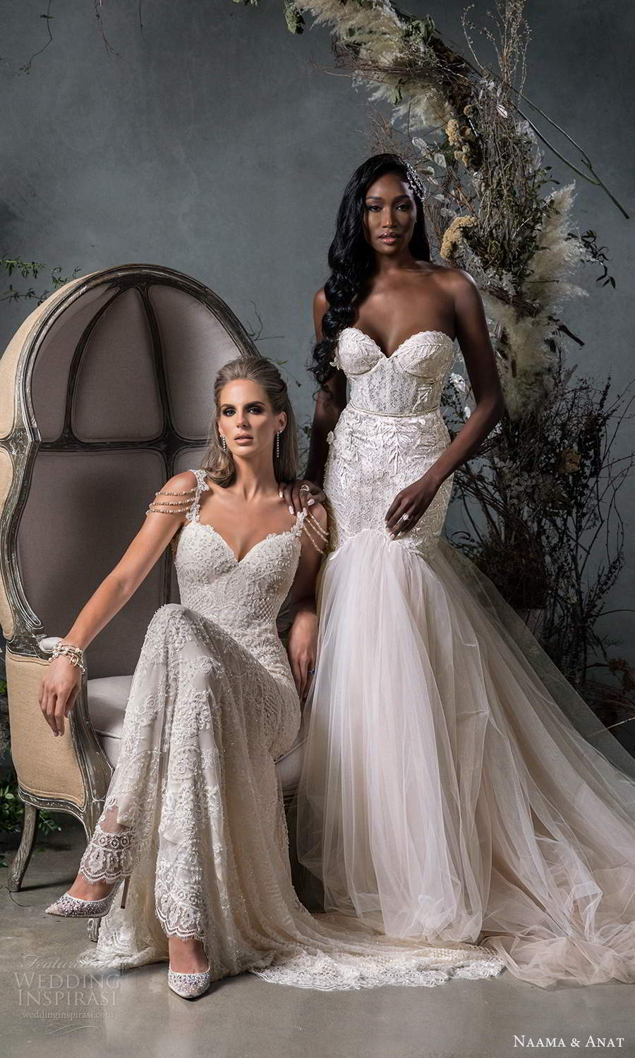 naama anat fall 2020 bridal strapless sweetheart neckline fully embellished fit flare mermaid wedding dress chapel train blush (11) fv