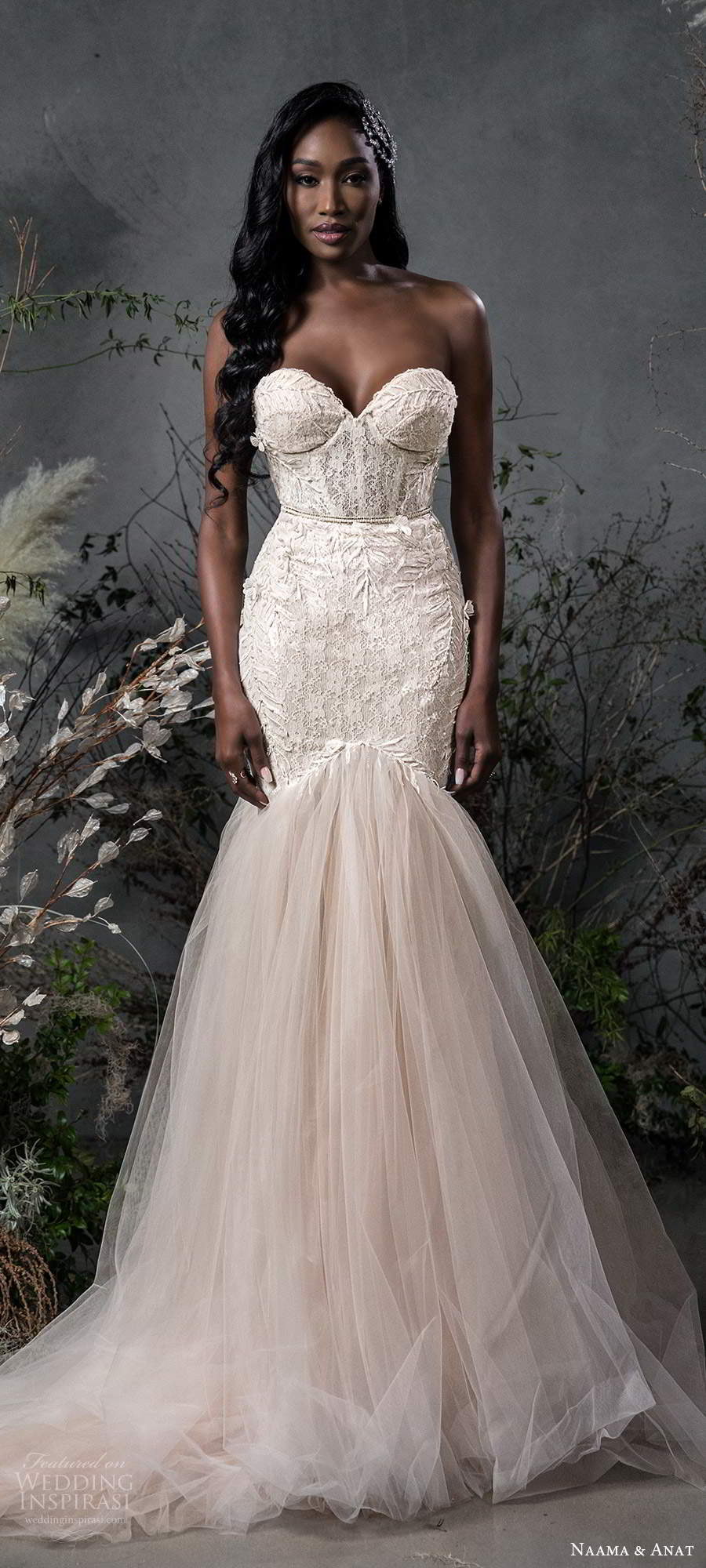 naama anat fall 2020 bridal strapless sweetheart neckline fully embellished fit flare mermaid wedding dress chapel train blush (11) lv