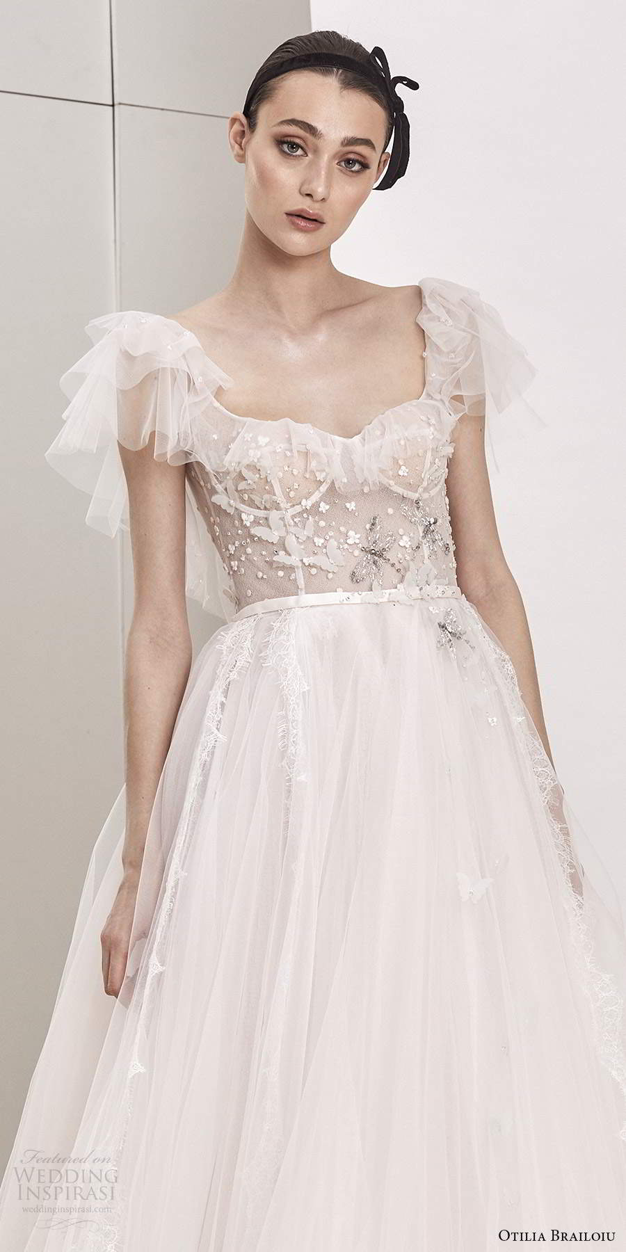 otilia brailoiu spring 2020 bridal flutter sleeves semi sweetheart neckline embellished sheer bodice a line ball gown wedding dress chapel train (17) zv