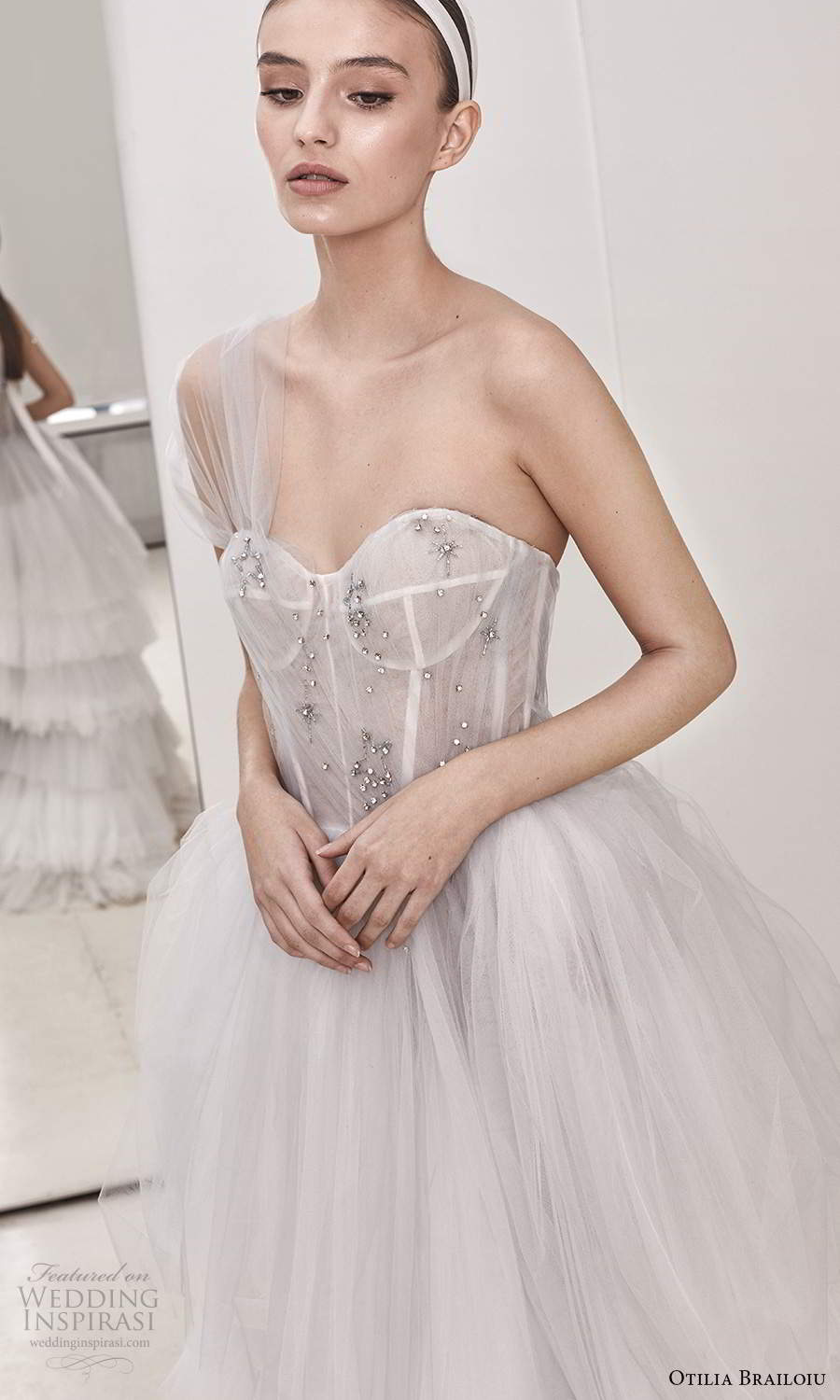 otilia brailoiu spring 2020 bridal one shoulder sheer ruched straps semi sweetheart neckline embellished bodice a line ball gown wedding dress chapel train (11) zv