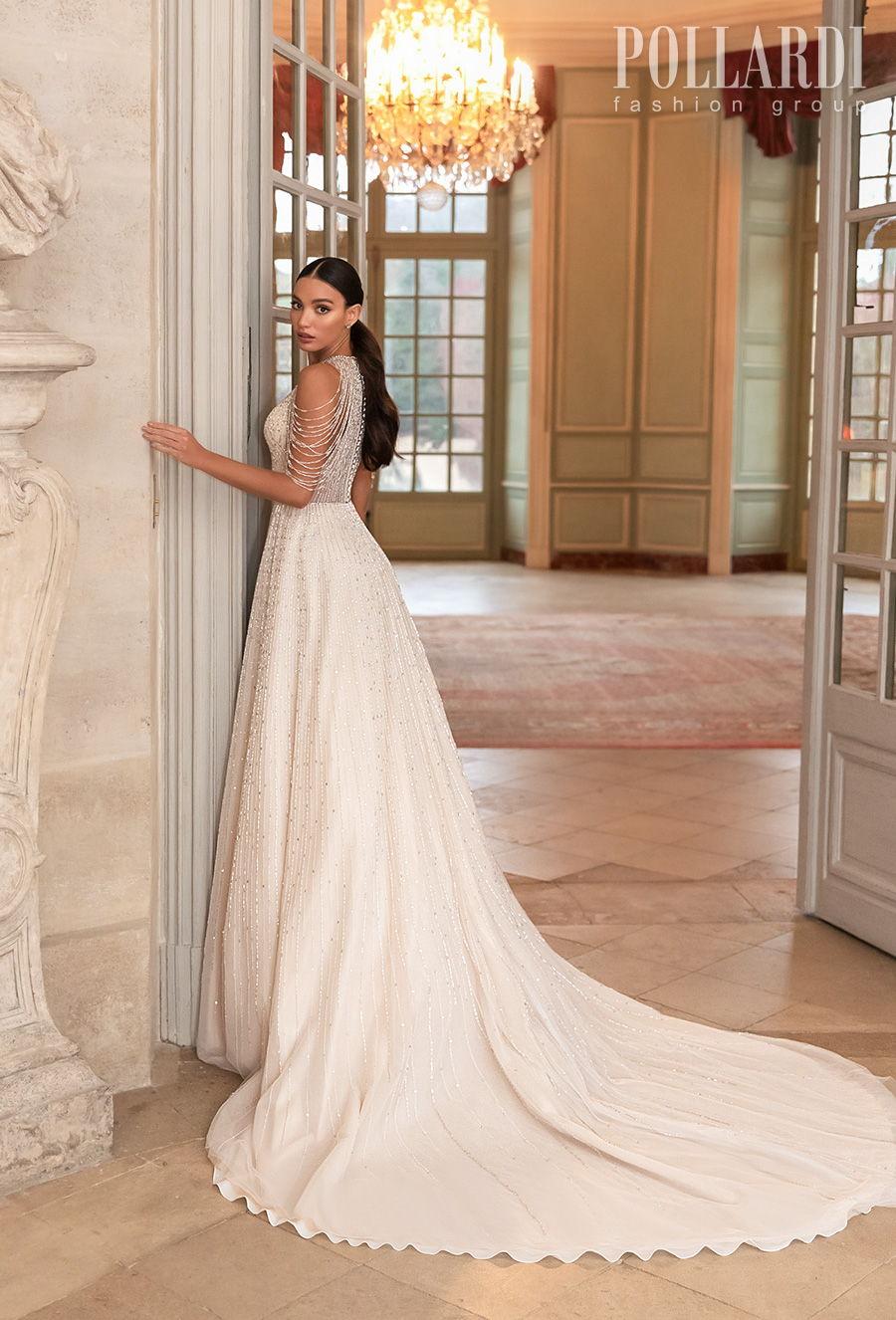 pollardi 2021 royalty bridal cold shoulder halter neck full embellishment beaded glamorous elegant a  line wedding dress covered back chapel train (splendor) bv