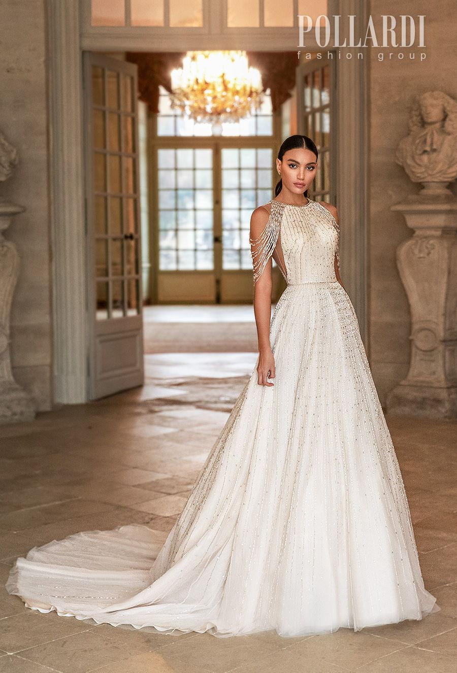 pollardi 2021 royalty bridal cold shoulder halter neck full embellishment beaded glamorous elegant a  line wedding dress covered back chapel train (splendor) mv