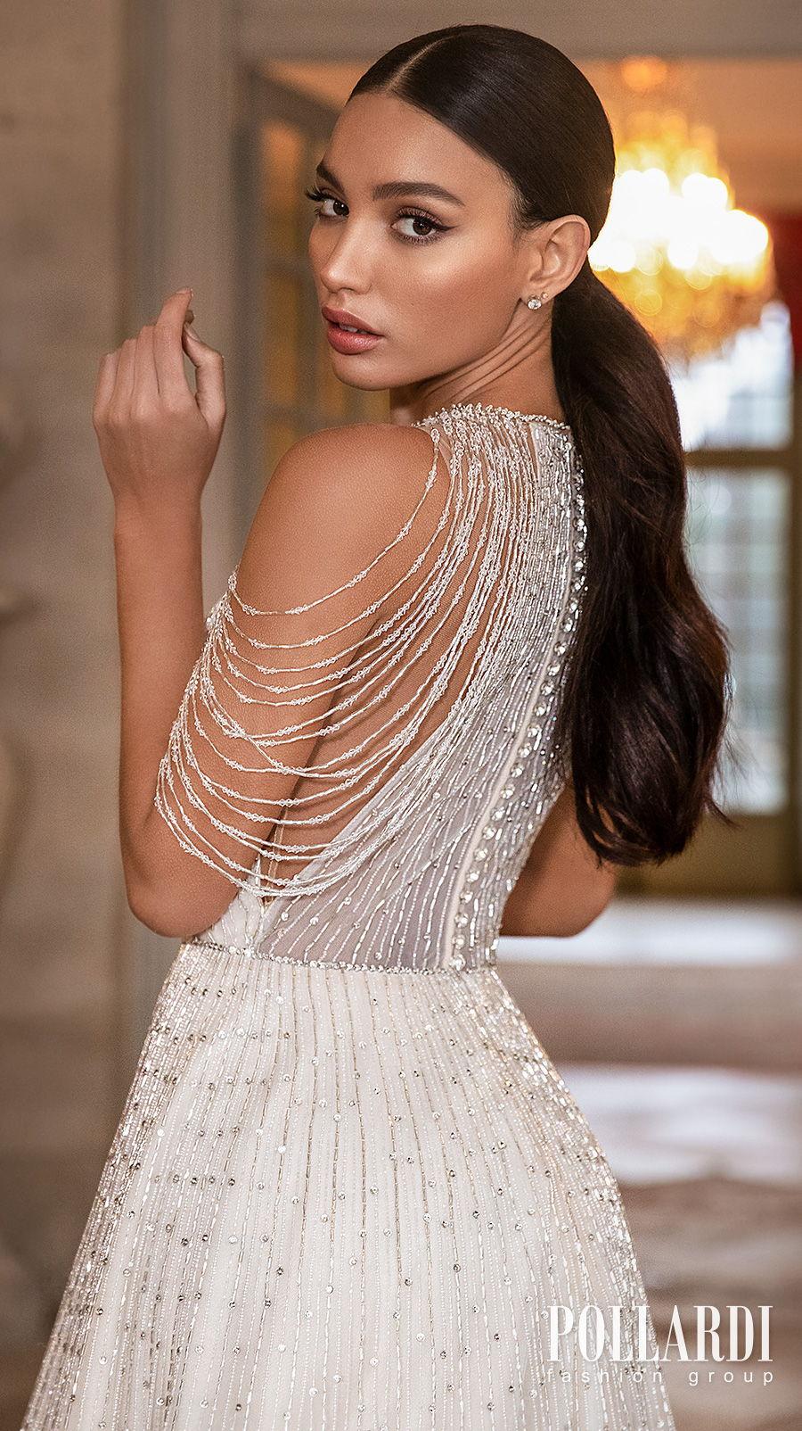 pollardi 2021 royalty bridal cold shoulder halter neck full embellishment beaded glamorous elegant a  line wedding dress covered back chapel train (splendor) zbv