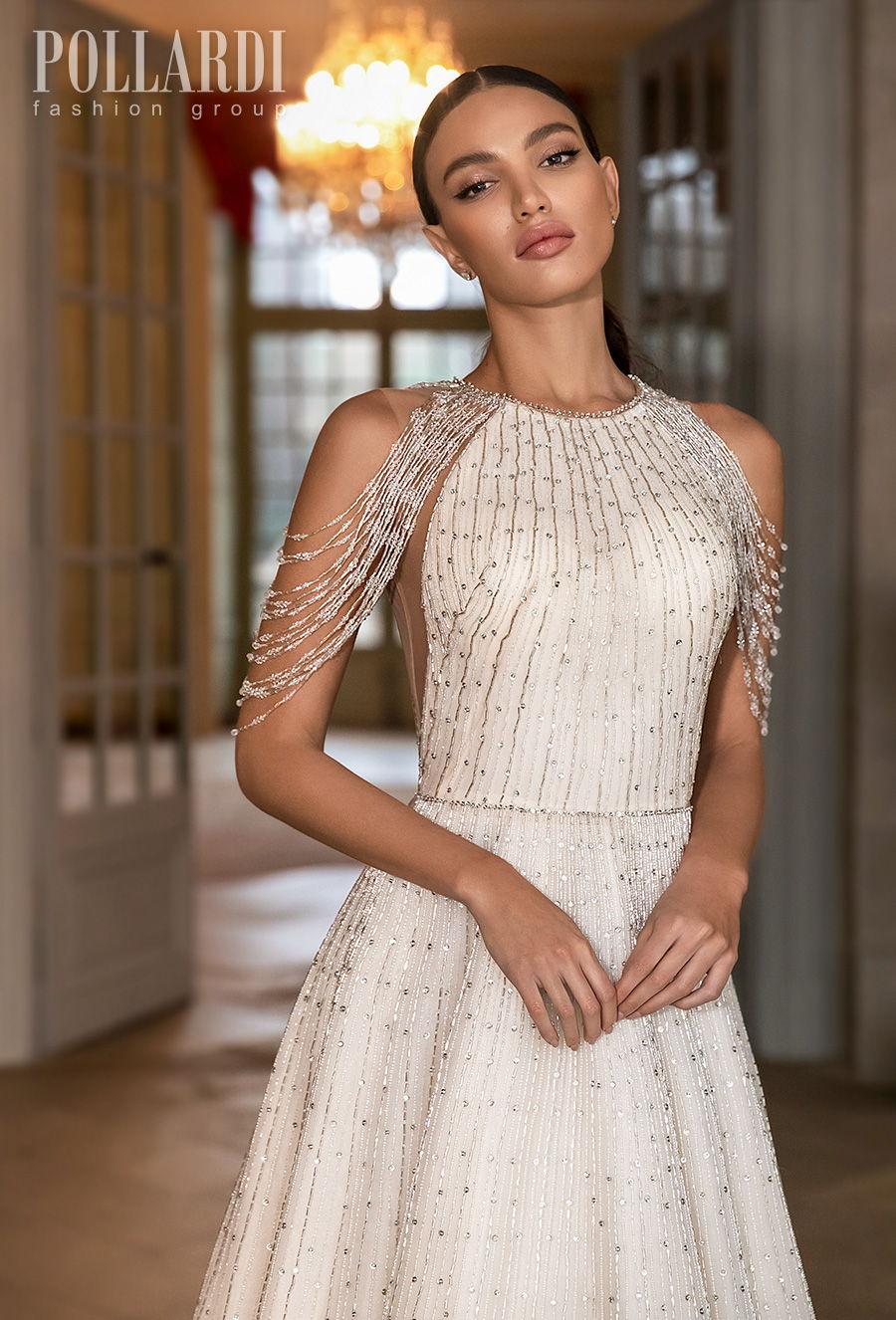 pollardi 2021 royalty bridal cold shoulder halter neck full embellishment beaded glamorous elegant a  line wedding dress covered back chapel train (splendor) zv