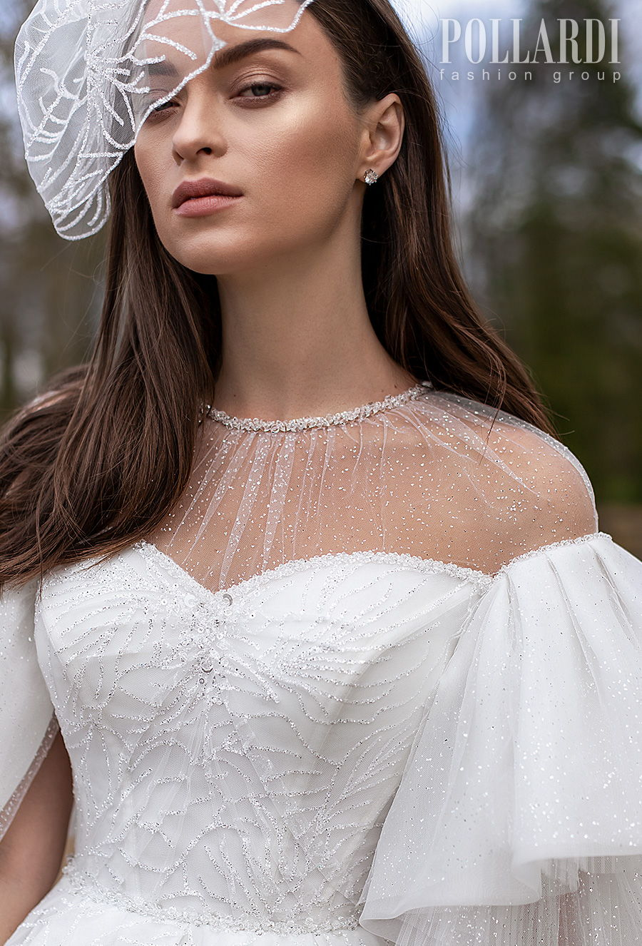 pollardi 2021 royalty bridal half lantern sleeves illusion jewel sweetheart neckline full embellishment romantic princess a  line wedding dress sheer keyhole back chapel train (mightiness) zv