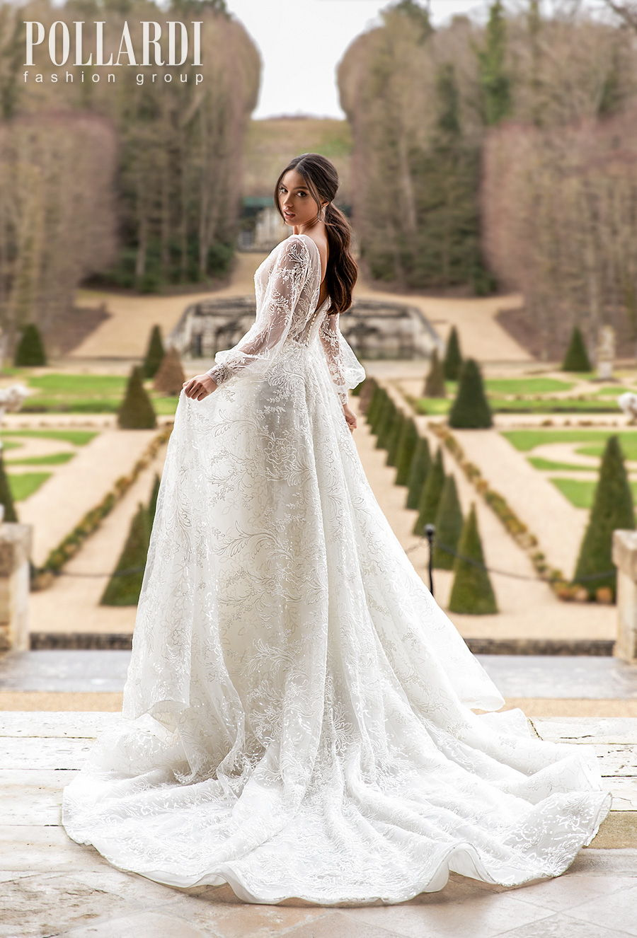 pollardi 2021 royalty bridal long bishop sleeves deep plunging v neck full embellishment romantic sexy a  line wedding dress v back chapel train (brilliance) bv
