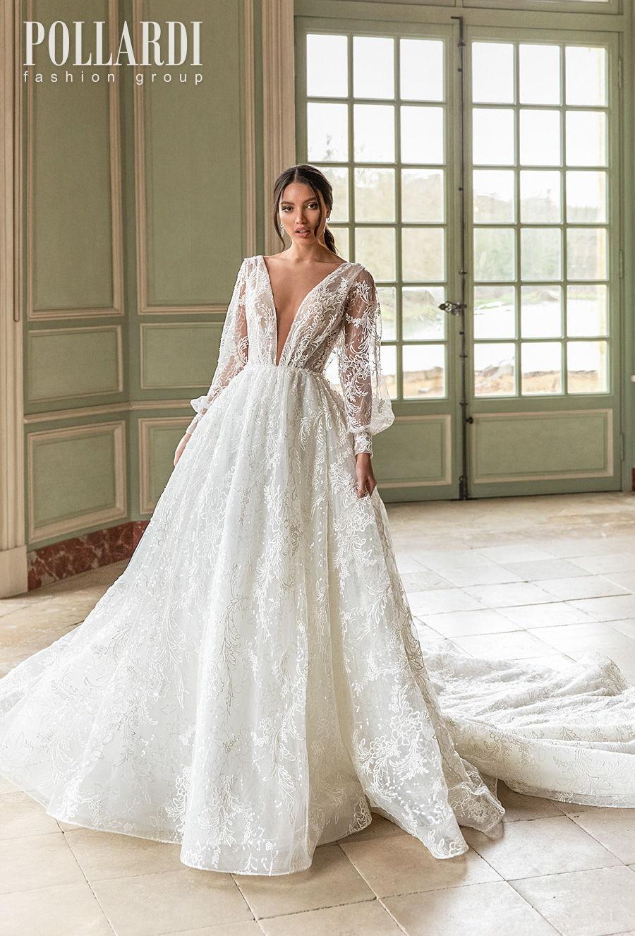 pollardi 2021 royalty bridal long bishop sleeves deep plunging v neck full embellishment romantic sexy a  line wedding dress v back chapel train (brilliance) mv