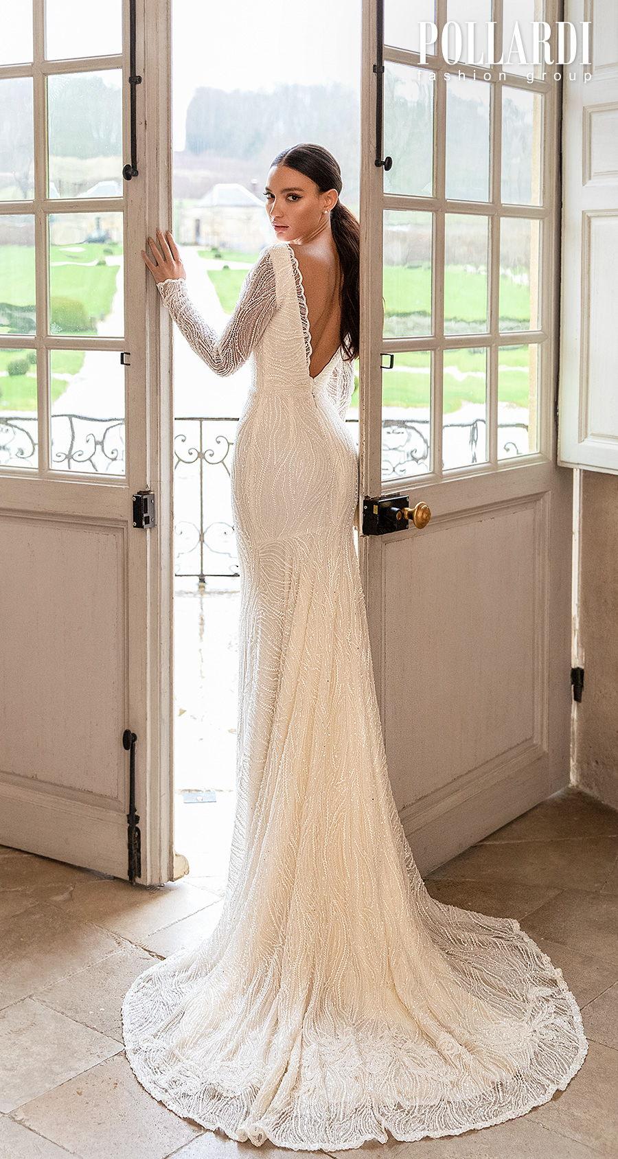 pollardi 2021 royalty bridal long sleeves bateau neck full embellishment beaded elegant glamorous fit and flare wedding dress low v back short train (gentility) bv