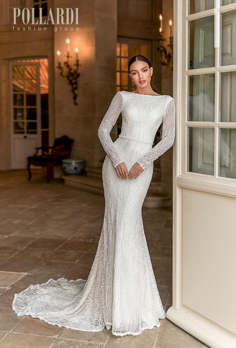 pollardi 2021 royalty bridal long sleeves bateau neck full embellishment beaded elegant glamorous fit and flare wedding dress low v back short train (gentility) mv
