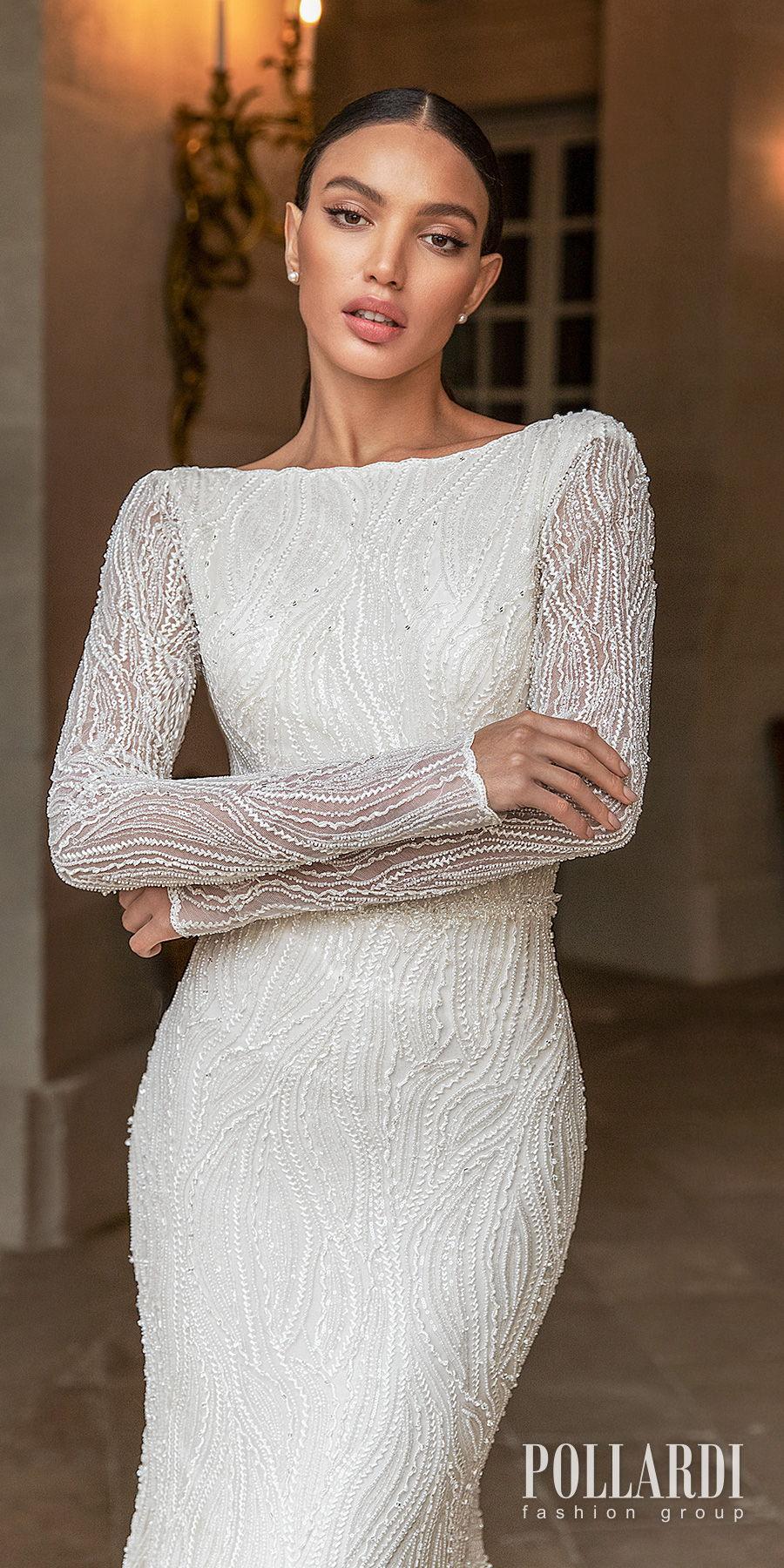 pollardi 2021 royalty bridal long sleeves bateau neck full embellishment beaded elegant glamorous fit and flare wedding dress low v back short train (gentility) zv