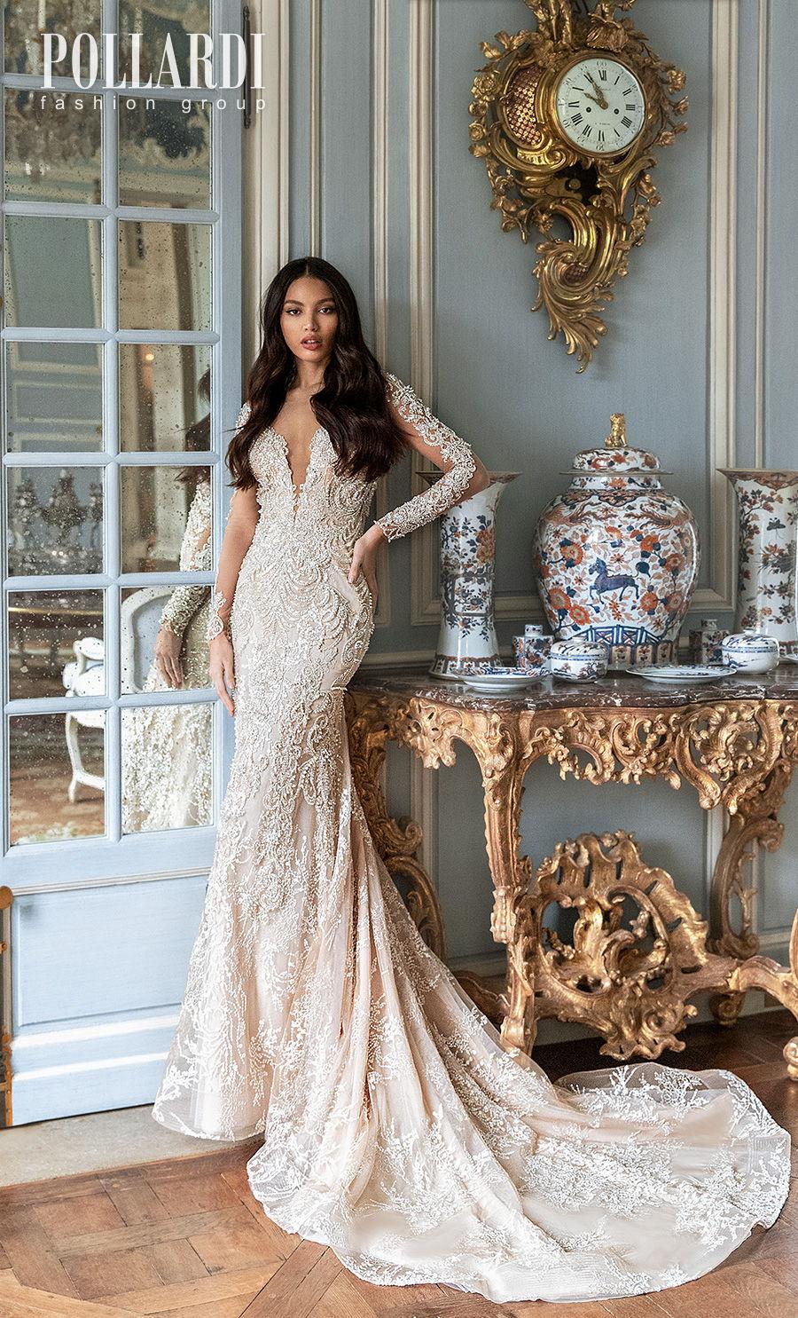 pollardi 2021 royalty bridal long sleeves deep plunging sweetheart neckline full embellishment glamorous elegant sheath fit and flare wedding dress low back medium train (exquisteness) mv