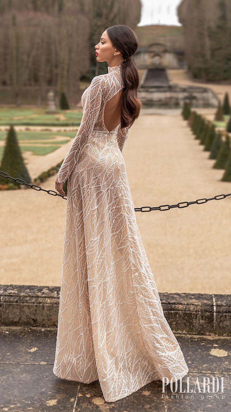 pollardi 2021 royalty bridal long sleeves high neck full embellishment gltter glamorous modern nude color soft a  line wedding dress keyhole back sweep train (splendorous) bv