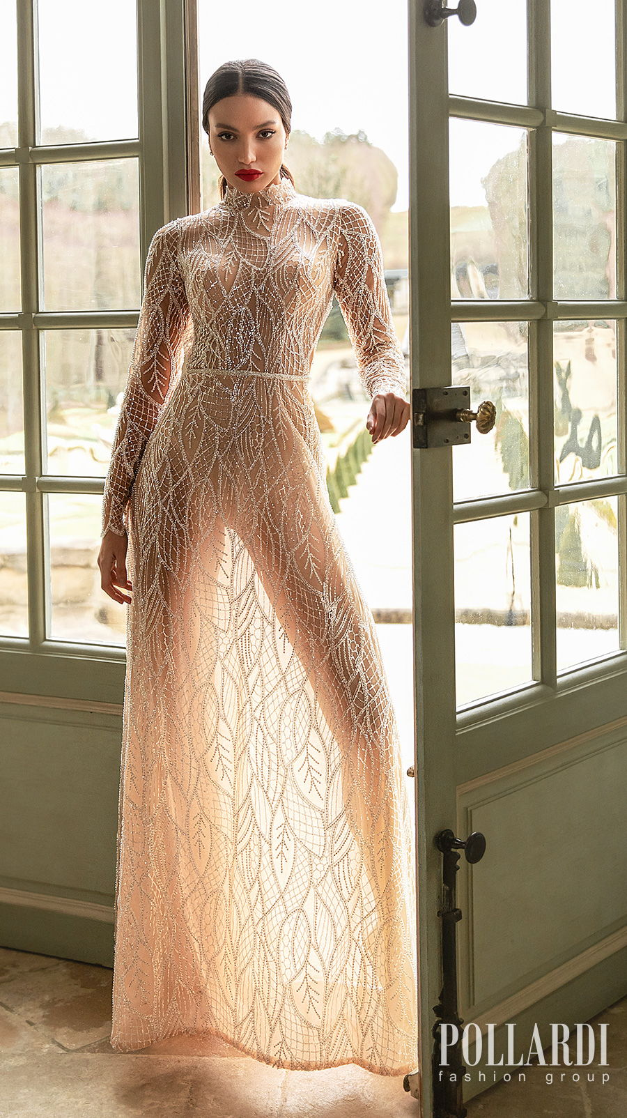 pollardi 2021 royalty bridal long sleeves high neck full embellishment gltter glamorous modern nude color soft a  line wedding dress keyhole back sweep train (splendorous) mv