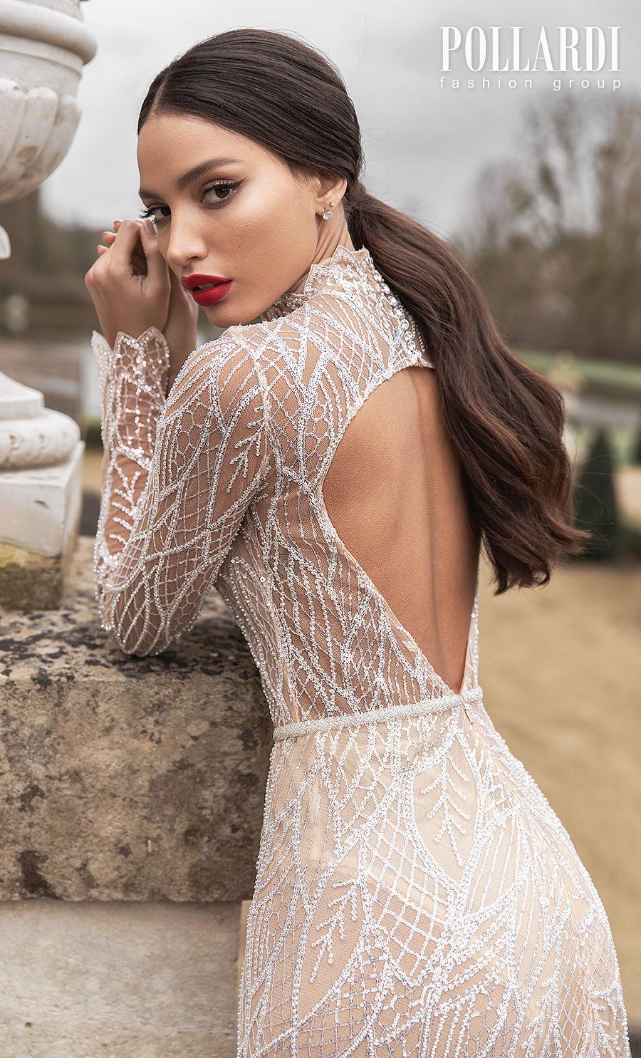 pollardi 2021 royalty bridal long sleeves high neck full embellishment gltter glamorous modern nude color soft a  line wedding dress keyhole back sweep train (splendorous) zbv