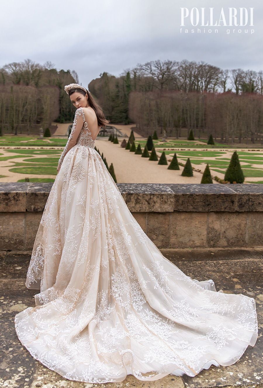 pollardi 2021 royalty bridal long sleeves v neck heavily embellished bodice glamorous princess ivory a  line wedding dress backless scoop back chapel train (solemnity) bv
