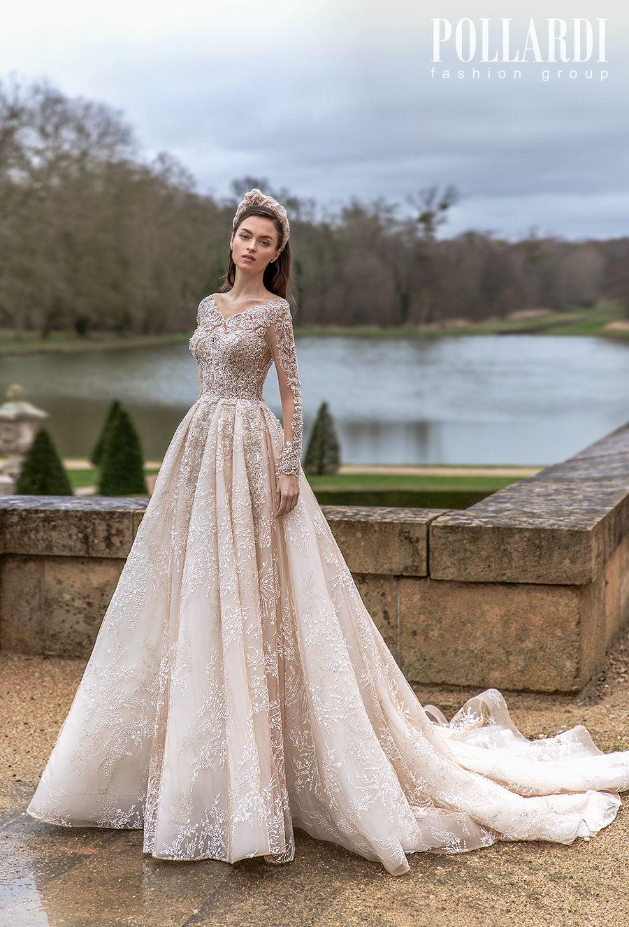 pollardi 2021 royalty bridal long sleeves v neck heavily embellished bodice glamorous princess ivory a  line wedding dress backless scoop back chapel train (solemnity) mv
