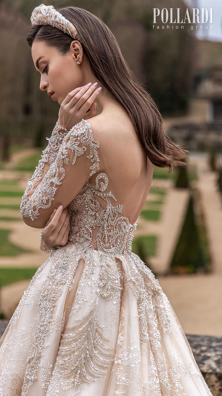 pollardi 2021 royalty bridal long sleeves v neck heavily embellished bodice glamorous princess ivory a  line wedding dress backless scoop back chapel train (solemnity) zbv