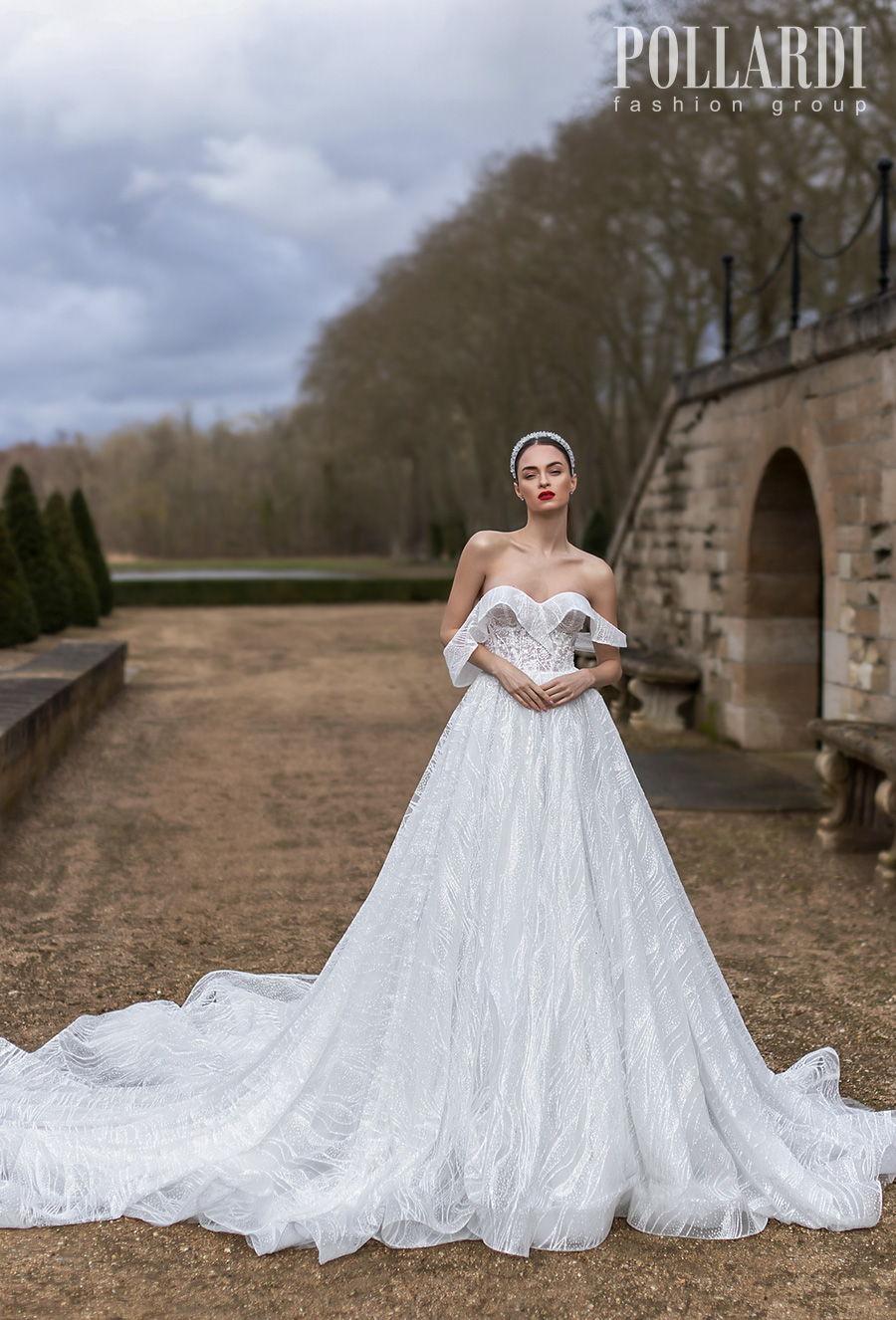 pollardi 2021 royalty bridal off the shoulder sweetheart neckline full embellishment romantic a  line wedding dress backless royal train (michelle) mv