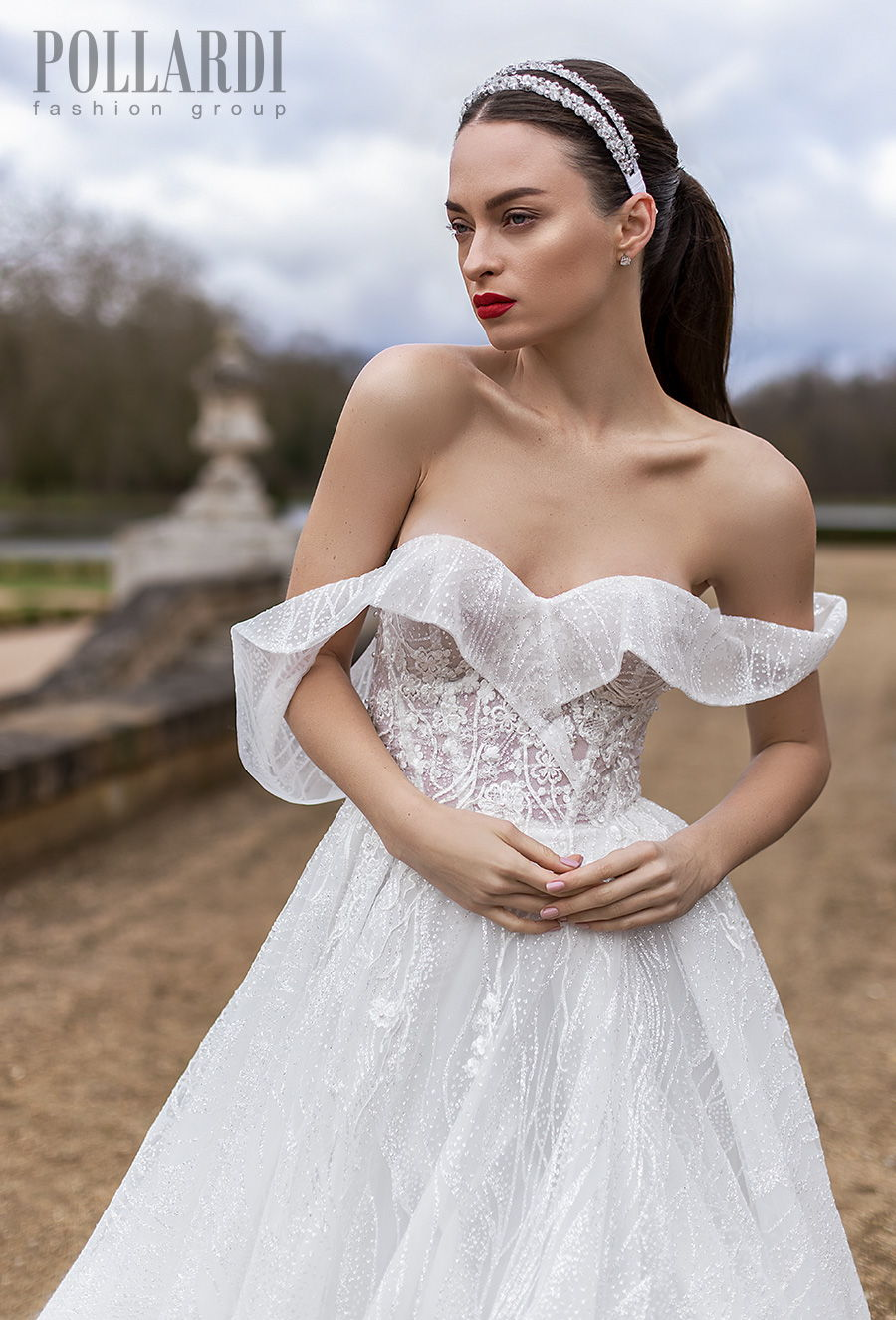 pollardi 2021 royalty bridal off the shoulder sweetheart neckline full embellishment romantic a  line wedding dress backless royal train (michelle) zv