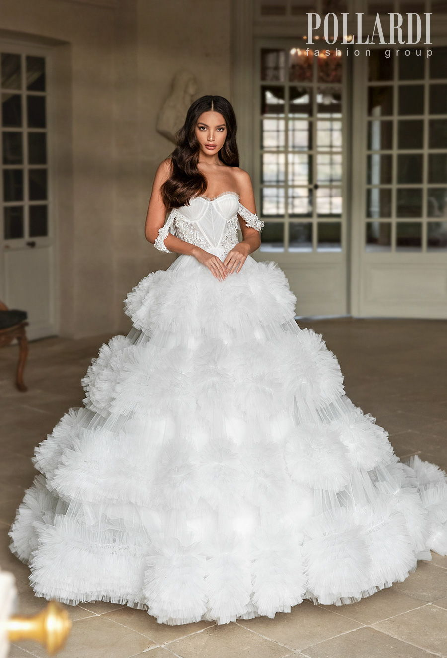 pollardi 2021 royalty bridal off the shoulder sweetheart neckline heavily embellished bodice bustier ruffled skirt princess ball gown a  line wedding dress chapel train (royalty) mv