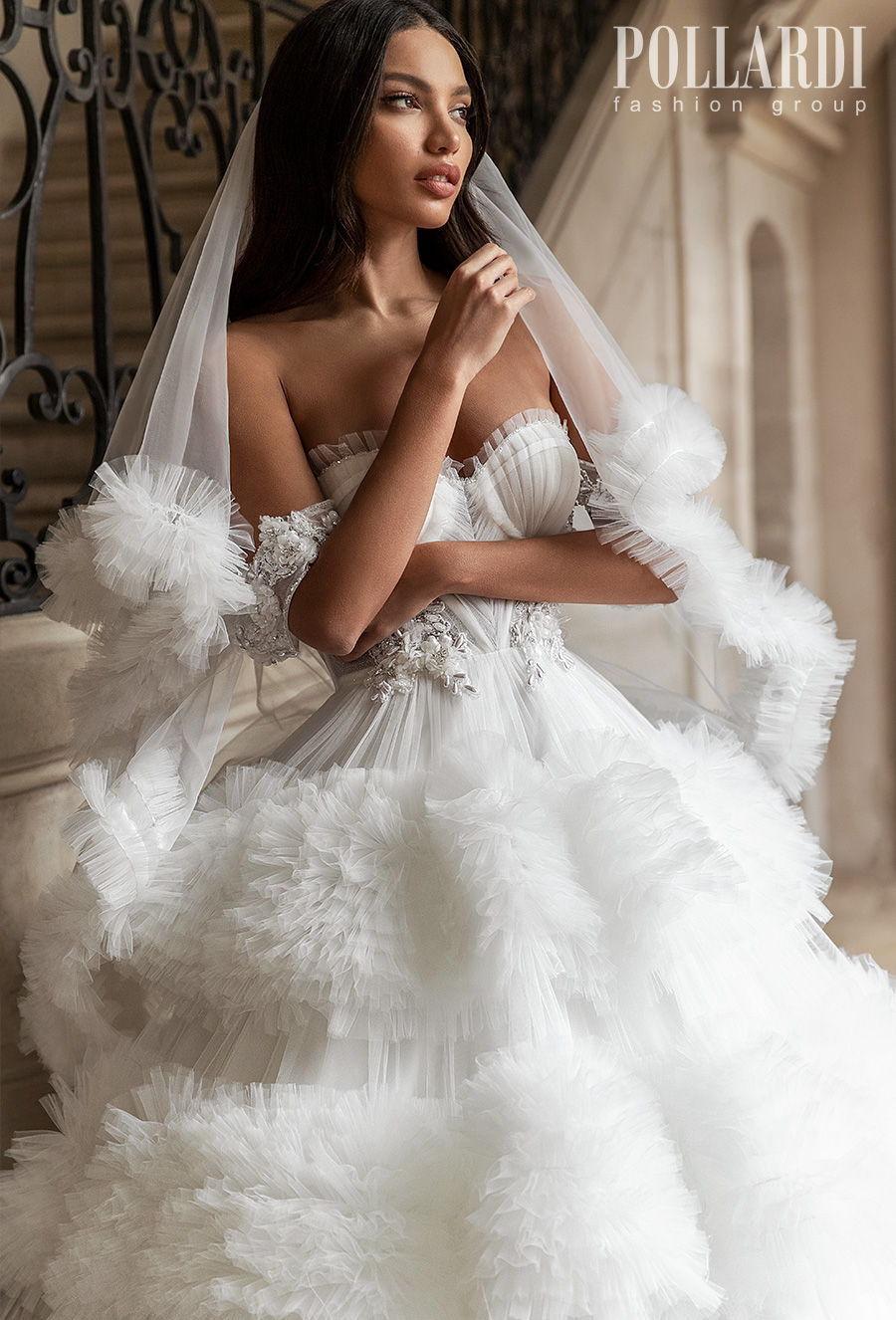 pollardi 2021 royalty bridal off the shoulder sweetheart neckline heavily embellished bodice bustier ruffled skirt princess ball gown a  line wedding dress chapel train (royalty) zv