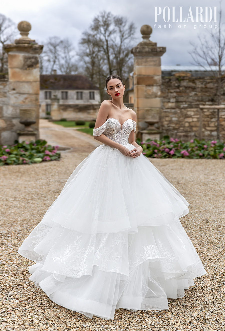 pollardi 2021 royalty bridal off the shoulder sweetheart neckline heavily embellished bodice tiered skirt romantic a  line wedding dress mid back chapel train (pomp) mv