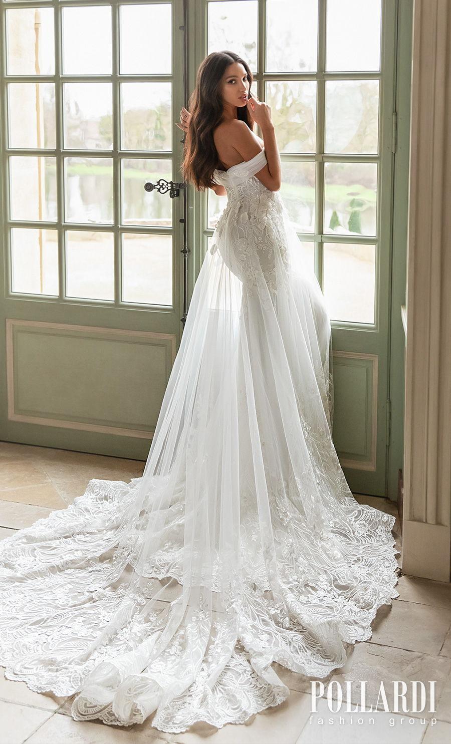 pollardi 2021 royalty bridal off the shoulder sweetheart neckline heavily embellished bodice train romantic a  line wedding dress mid back chapel train (elegance) bv