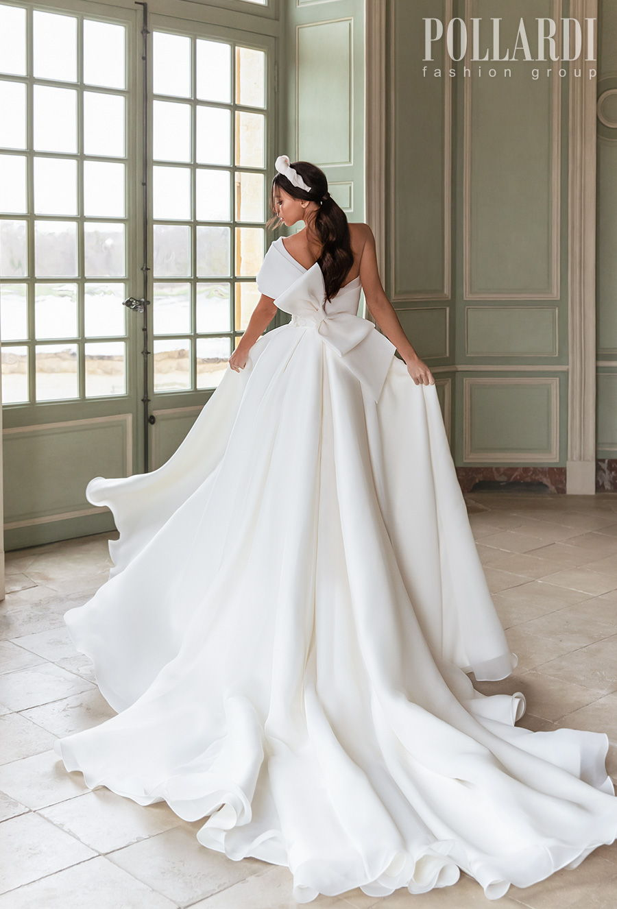 pollardi 2021 royalty bridal on shoulder simple high slit skirt sexy modern chic a  line wedding dress ribbon back royal train (queenliness) bv