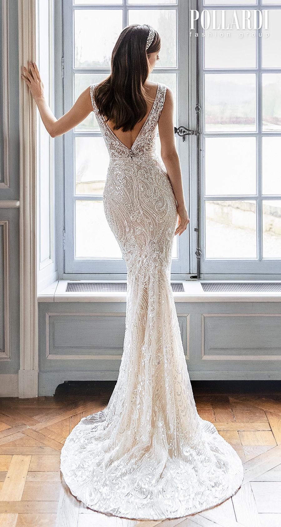 pollardi 2021 royalty bridal sleeveless deep plunging v neck full embellishment elegant glamorous sheath fit and flare wedding dress v back short train (jolie) bv