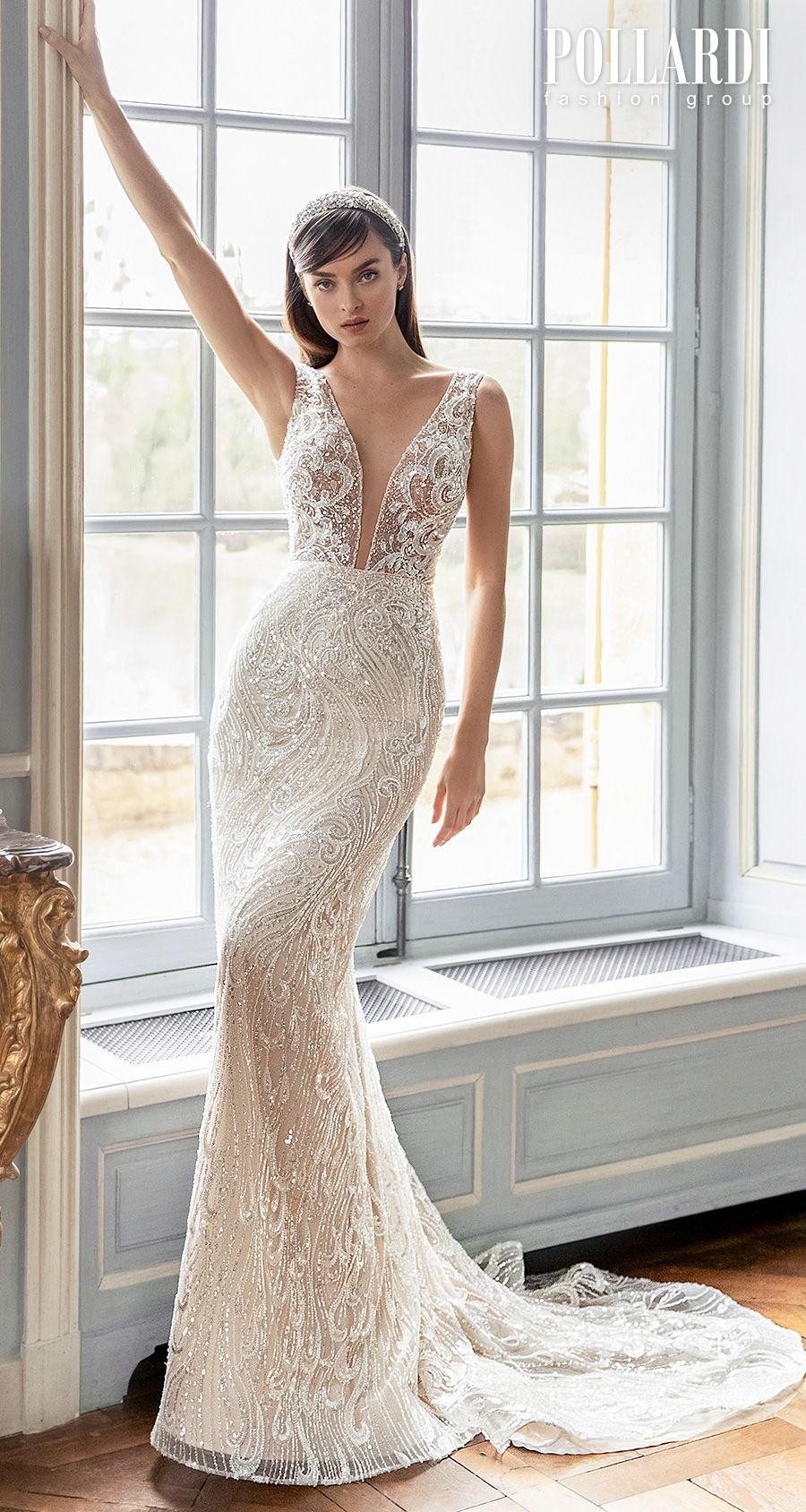 pollardi 2021 royalty bridal sleeveless deep plunging v neck full embellishment elegant glamorous sheath fit and flare wedding dress v back short train (jolie) mv