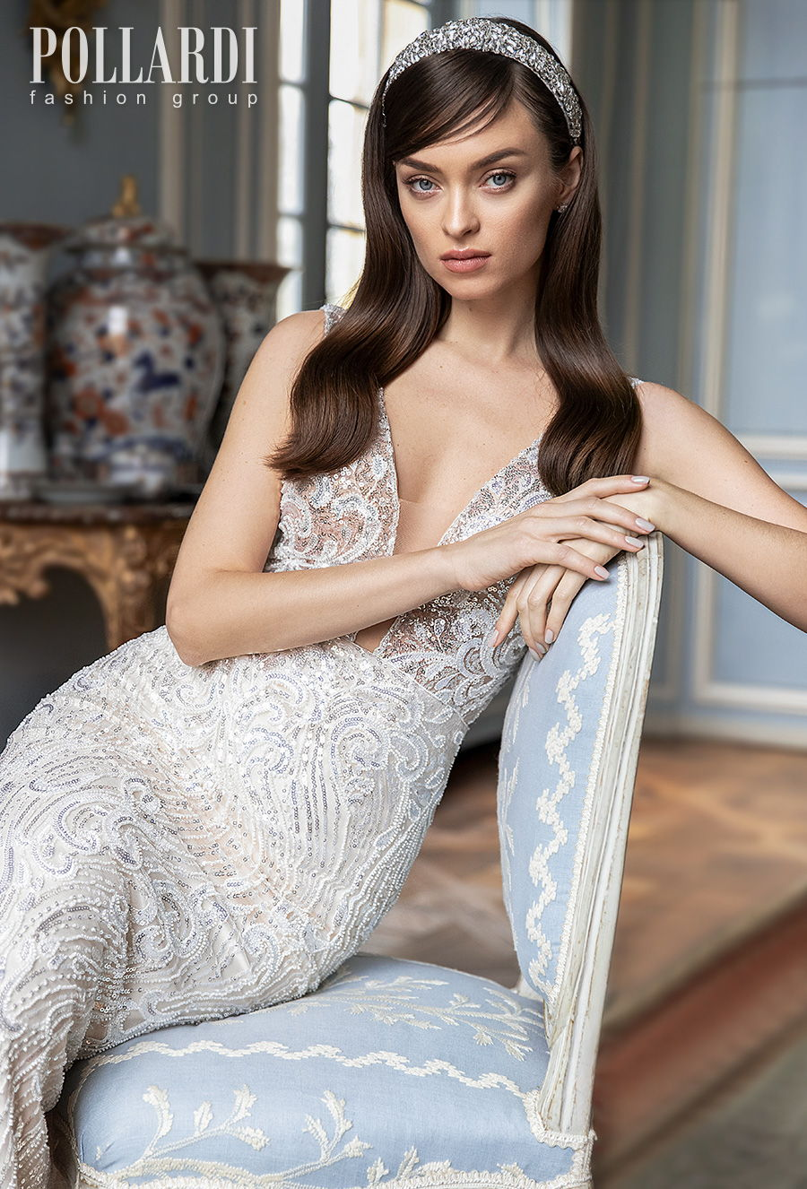 pollardi 2021 royalty bridal sleeveless deep plunging v neck full embellishment elegant glamorous sheath fit and flare wedding dress v back short train (jolie) zv
