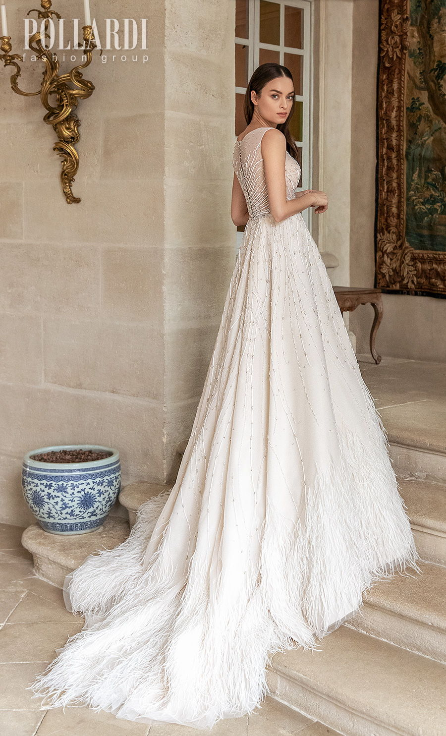 pollardi 2021 royalty bridal sleeveless jewel neck full embellishment beaded sheer bodice romantic a  line wedding dress sheer back chapel train (featheriness) bv