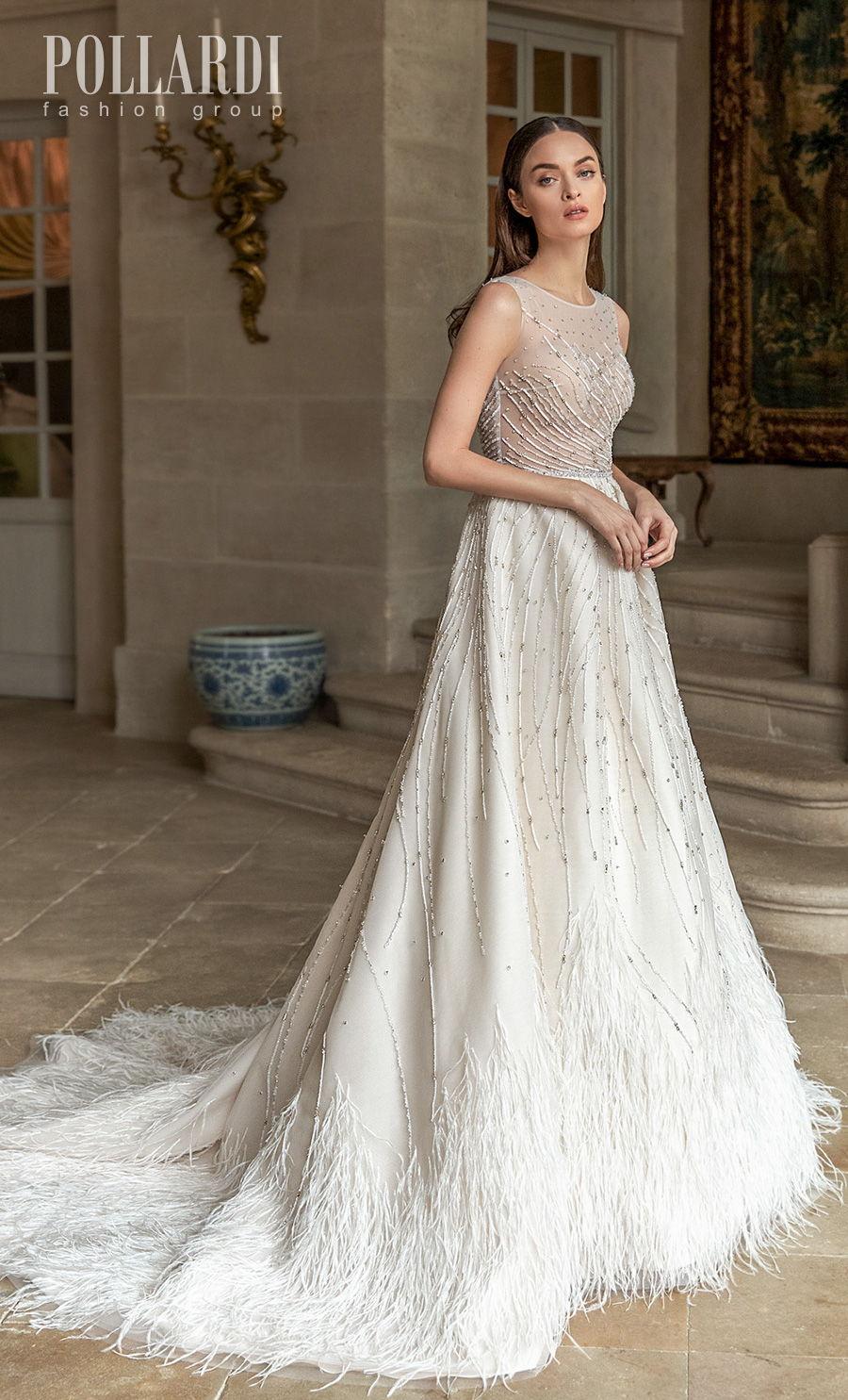 pollardi 2021 royalty bridal sleeveless jewel neck full embellishment beaded sheer bodice romantic a  line wedding dress sheer back chapel train (featheriness) mv