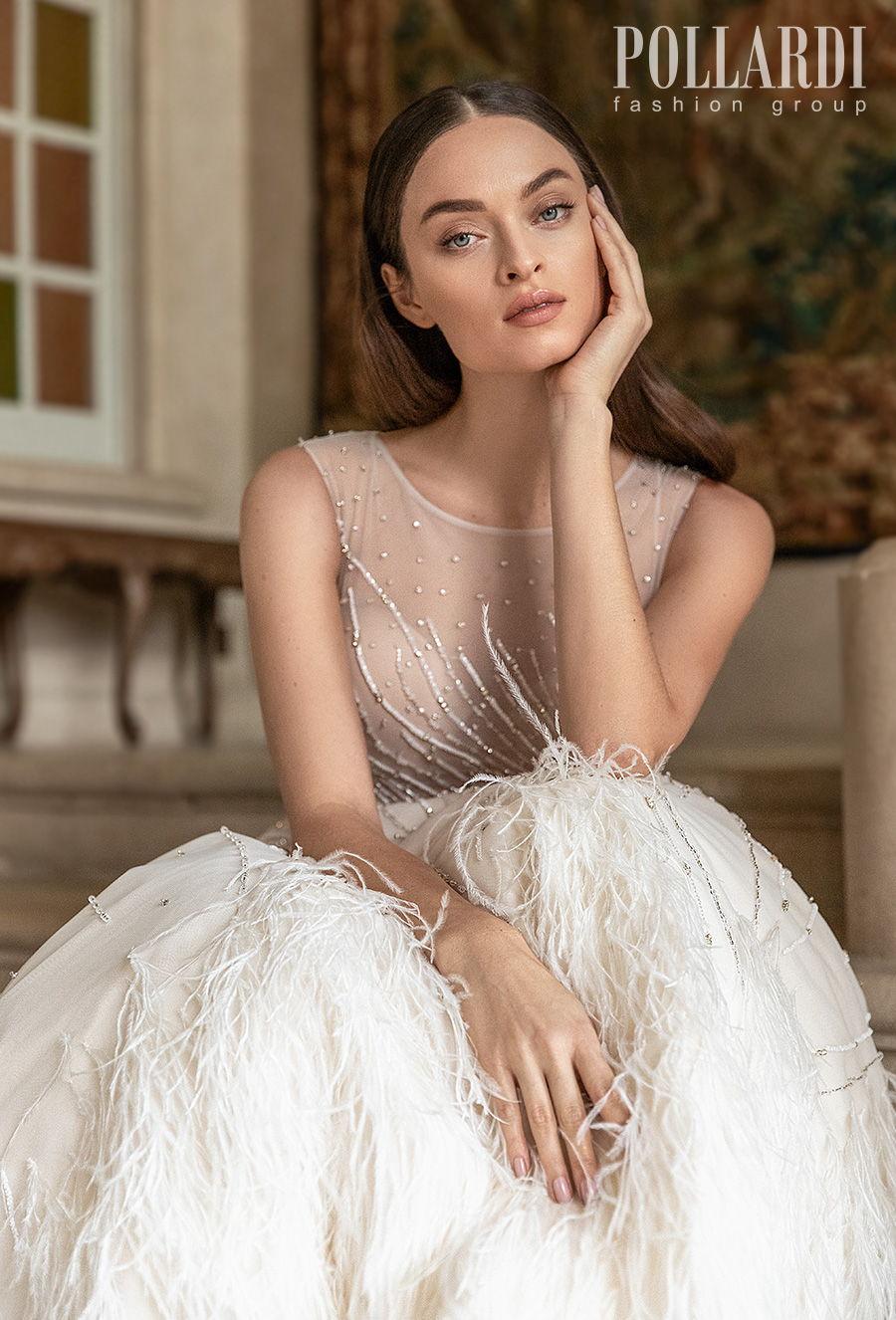 pollardi 2021 royalty bridal sleeveless jewel neck full embellishment beaded sheer bodice romantic a  line wedding dress sheer back chapel train (featheriness) zv
