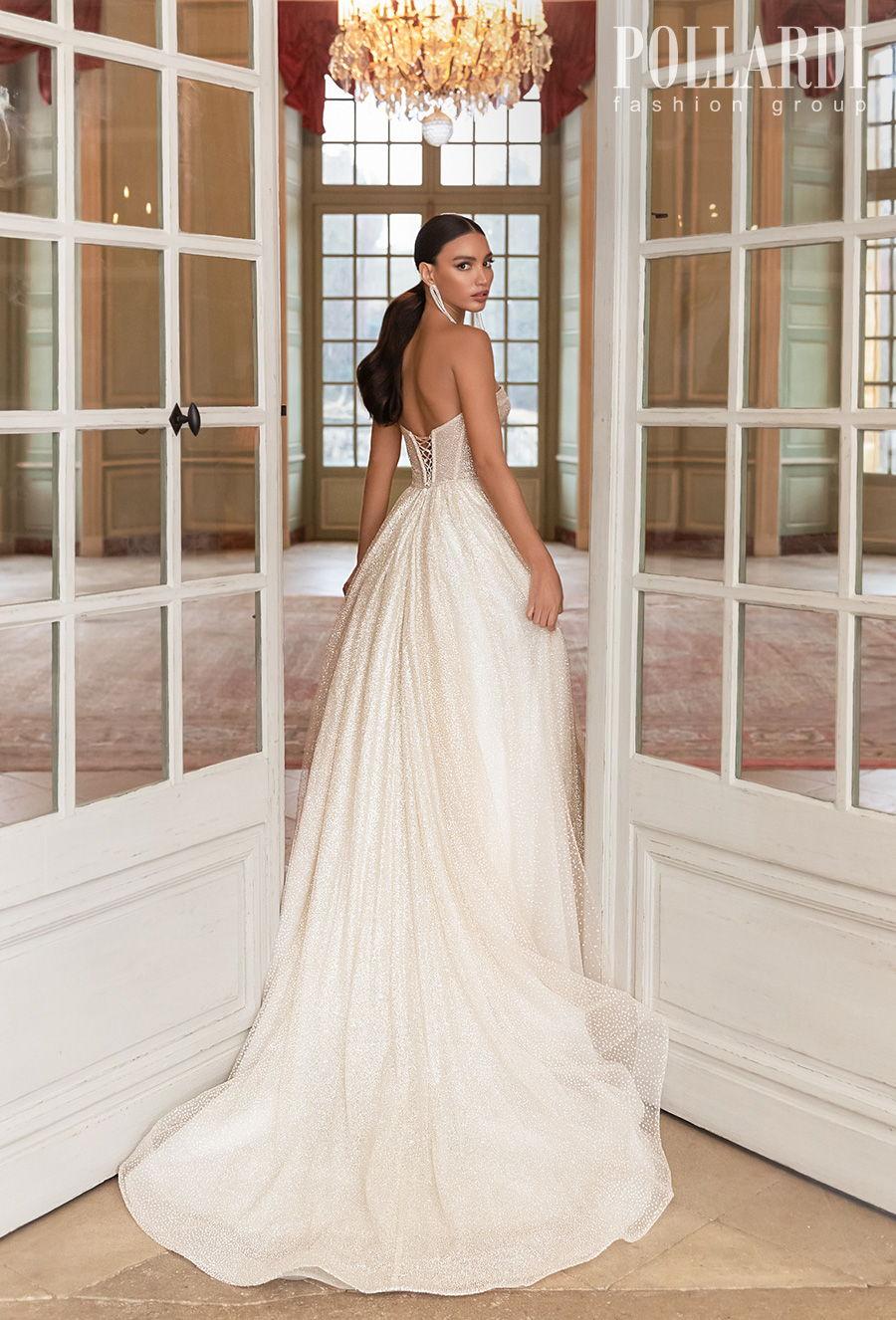 pollardi 2021 royalty bridal strapless sweetheart neckline full embellishment glitter romantic glamorous a  line wedding dress mid back medium train (gloss) bv