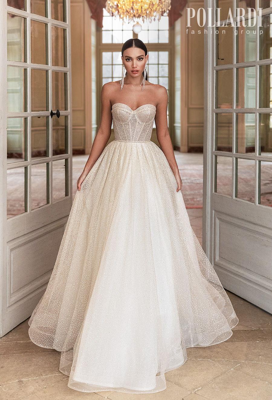 pollardi 2021 royalty bridal strapless sweetheart neckline full embellishment glitter romantic glamorous a  line wedding dress mid back medium train (gloss) mv