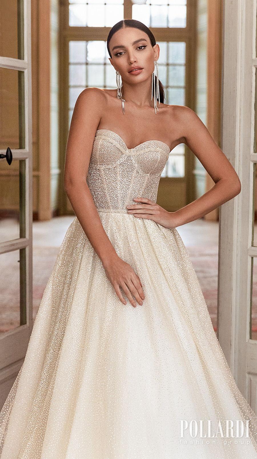 pollardi 2021 royalty bridal strapless sweetheart neckline full embellishment glitter romantic glamorous a  line wedding dress mid back medium train (gloss) zv