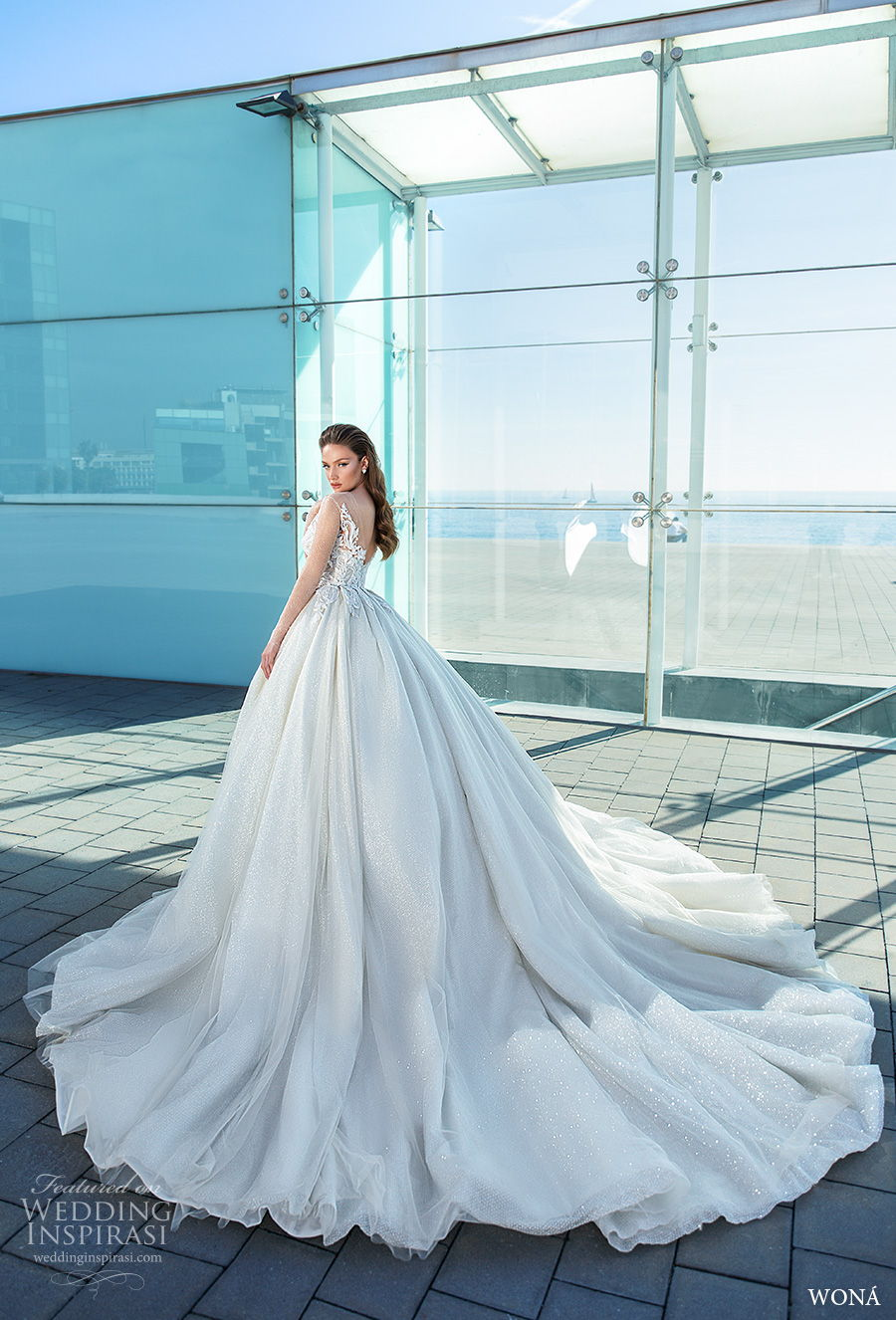 wona 2020 diva bridal long sheer sleeves illusion bateau sweetheart neckline heavily embellished bodice princess ball gown a  line wedding dress v back chapel train (14) bv
