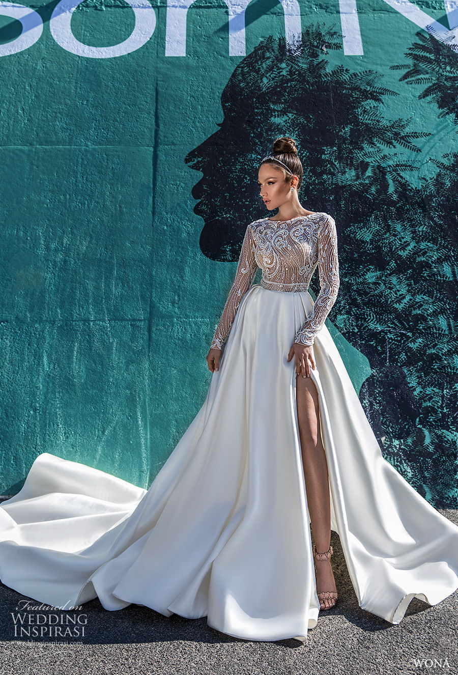 wona 2020 diva bridal long sleeves bateau neck heavily embellished bodice slit skirt a  line wedding dress chapel train (9) mv