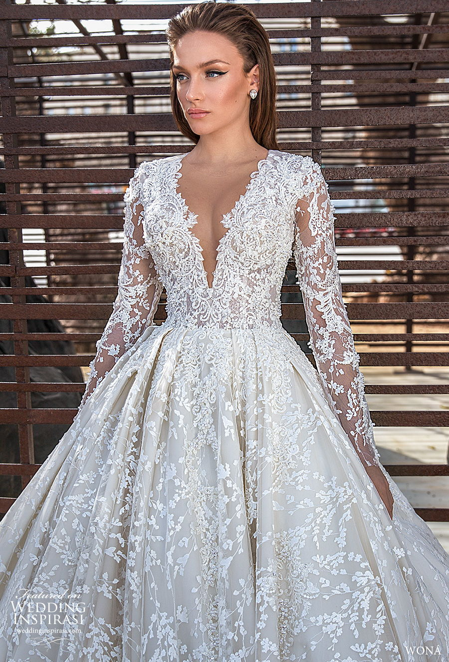 wona 2020 diva bridal long sleeves deep v neck full embellishment princess a  line wedding dress royal train (12) zv