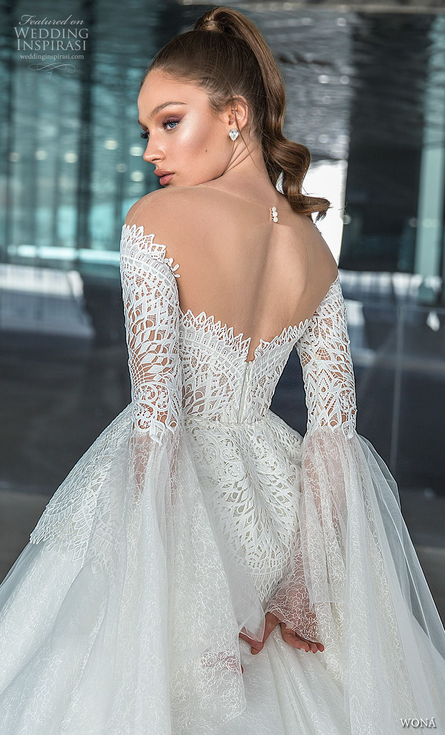 wona 2020 diva bridal off the shoulder long lantern sleeves sweetheart neckline heavily embellished bodice princess a  line mid back royal back royal train (1) bv
