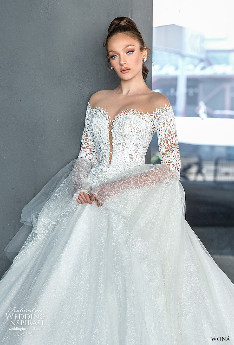wona 2020 diva bridal off the shoulder long lantern sleeves sweetheart neckline heavily embellished bodice princess a  line mid back royal back royal train (1) zv