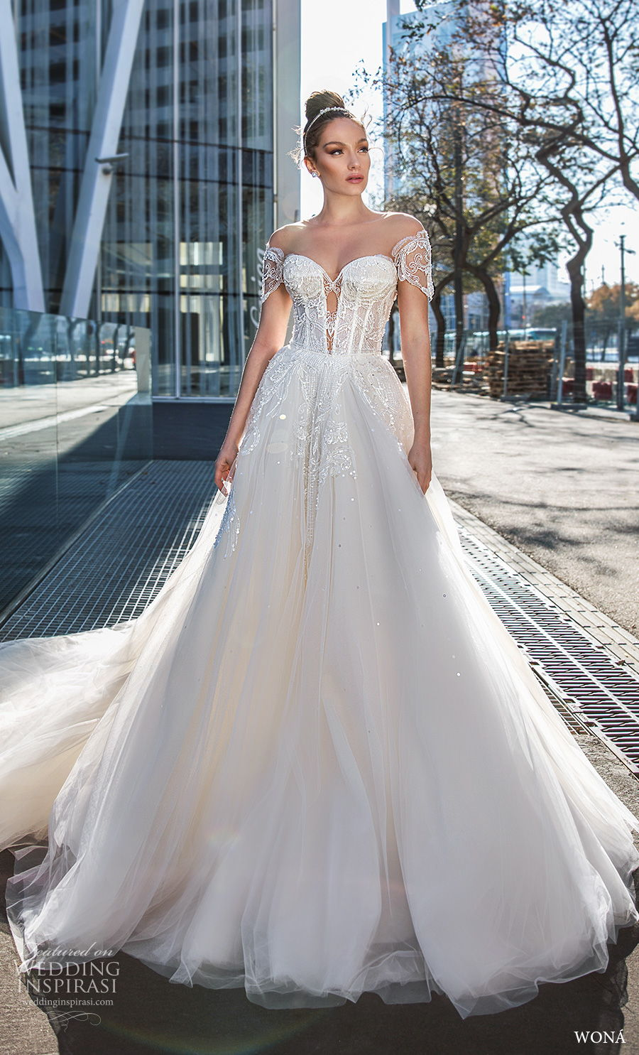 wona 2020 diva bridal off the shoulder short sleeves sweetheart neckline heavily embellished bodice glamorous a  line wedding dress mid back chapel train (19) mv