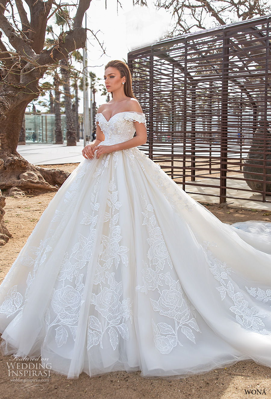 wona 2020 diva bridal off the shoulder sweetheart neckline full embellishment princess ball gown a  line wedding dress mid back royal train (5) mv