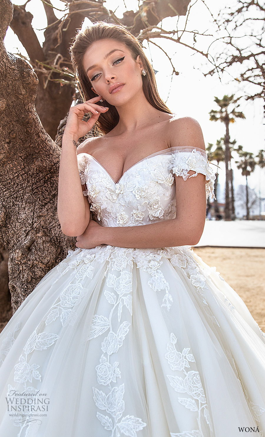 wona 2020 diva bridal off the shoulder sweetheart neckline full embellishment princess ball gown a  line wedding dress mid back royal train (5) zv